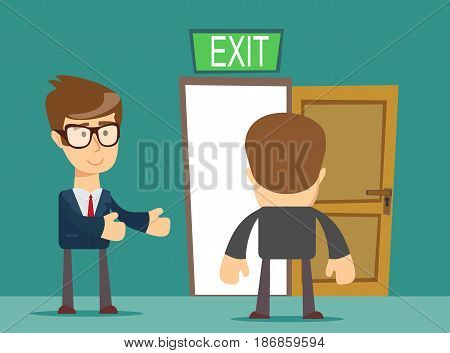 businessman welcomes you to come to his home. Stock vector illustration for poster, greeting card, website, ad, business presentation, advertisement design.