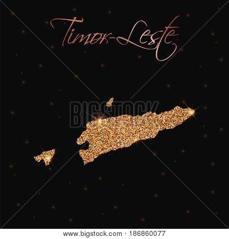 Timor-leste Map Filled With Golden Glitter. Luxurious Design Element, Vector Illustration.
