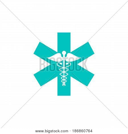 Caduceus solid icon, Medicine and health sign, vector graphics, colorful linear flat pattern on a white background, eps 10.