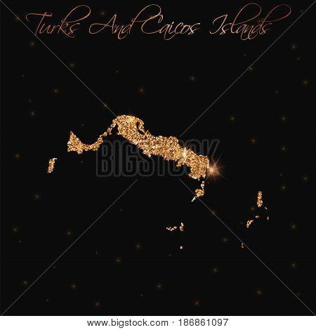 Turks And Caicos Islands Map Filled With Golden Glitter. Luxurious Design Element, Vector Illustrati