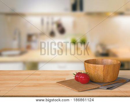Wooden Counter Top With Tomato And Wooden Bowl
