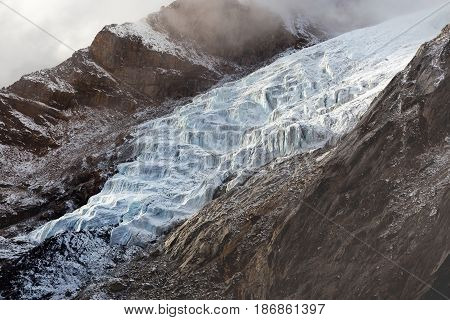 River Of Ice - Glacier In Himalayas, Nepal. Beautiful Landscape Of A White Snowy Mountain Glacier Co