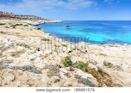 Blue Lagoon with rocky coast in Ayia Napa. Cyprus