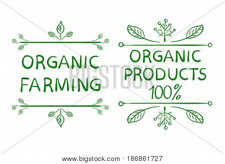 Organic farming. Organic products 100 . Hand drawn typographic design elements on white background.