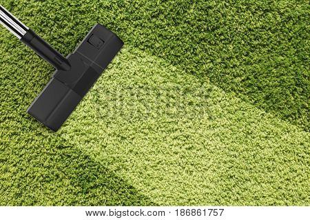 3d rendering vacuum cleaning with blank strip on green carpet