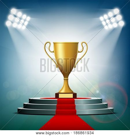 Gold Cup winner standing on a podium with a red carpet. Stock vector illustration.
