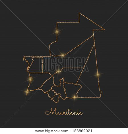 Mauritania Region Map: Golden Glitter Outline With Sparkling Stars On Dark Background. Detailed Map