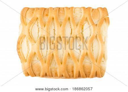 Wicker Pie With Cottage Cheese Isolated On White Background
