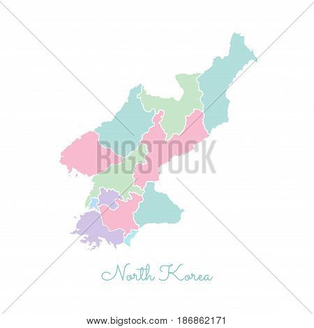 North Korea Region Map: Colorful With White Outline. Detailed Map Of North Korea Regions. Vector Ill