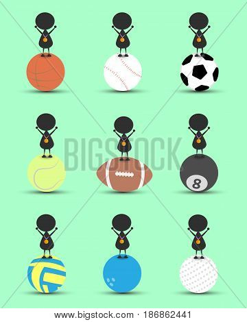 Black man character cartoon stand on sports ball and get the gold medal with green background. Flat graphic. logo design. sports cartoon. sports balls. victory sign. vector. illustration.