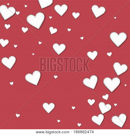 Cutout Paper Hearts. Abstract Scattered Pattern On Crimson Background. Vector Illustration.