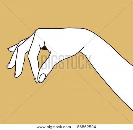 Contour of woman's hand palm down with pinch fingers. Linear drawing