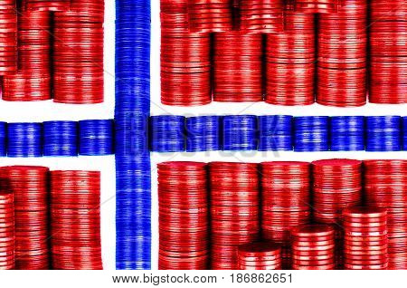 norwegian money flag constructed from stacks of coins