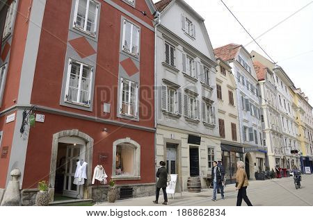 GRAZ, AUSTRIA - MARCH 20, 2017: People at a central street in Graz the capital of federal state of Styria Austria.