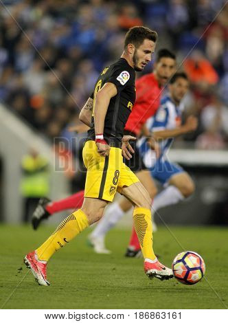 BARCELONA, SPAIN - MAY, 6: Saul Niguez of Atletico de Madrid during a Spanish League match against RCD Espanyol at the RCDE Stadium on May 6 2017 in Barcelona Spain