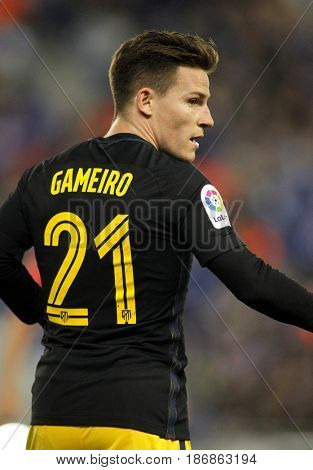 BARCELONA, SPAIN - MAY, 6: Kevin Gameiro of Atletico de Madrid during a Spanish League match against RCD Espanyol at the RCDE Stadium on May 6 2017 in Barcelona Spain