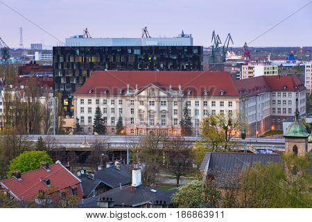 Architecture of the city center in Gdansk at dusk, Poland