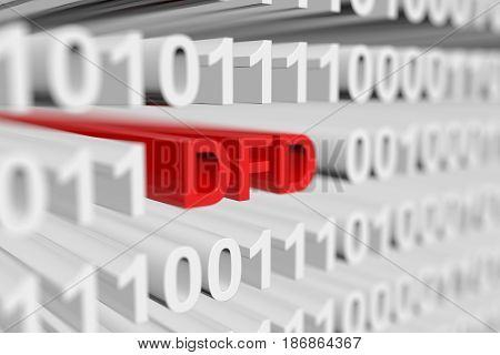 DFD in binary code with blurred background 3D illustration