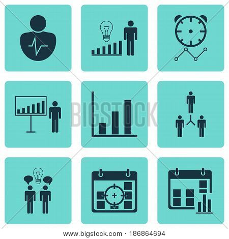 Set Of 9 Administration Icons. Includes Project Targets, Project Presentation, Reminder And Other Symbols. Beautiful Design Elements.