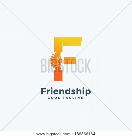 Friendship Abstract Vector Sign, Symbol or Logo Template. Hand Shake Incorporated in Letter F Concept. Isolated.