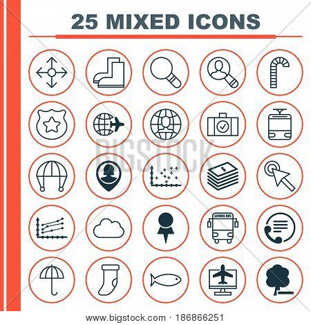 Set Of 25 Universal Editable Icons. Can Be Used For Web, Mobile And App Design. Includes Elements Such As Road Pointer, Streetcar, Telephone And More.
