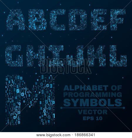 Alphabet from the symbols of the program code. Programming in design. Glowing letters are blue. A B C D. Vector illustration