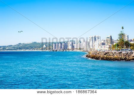 View To The Lagoon In Vina Del Mar, Chile