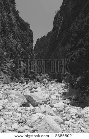 Samaria Gorge. Crete. Greece. Black and white. Stylization.