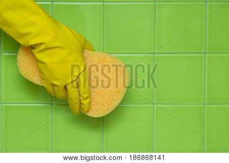 Cleaning hand holding house cleaning cleaning services rubber glove sponge tiles