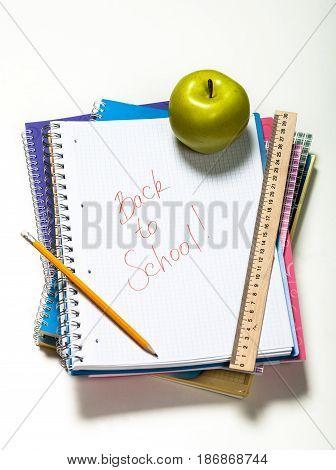 School education top view top down school equipment school supplies notepad