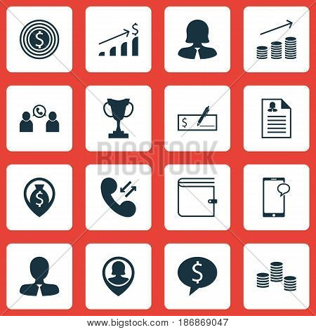 Set Of 16 Human Resources Icons. Includes Business Woman, Manager, Pin Employee And Other Symbols. Beautiful Design Elements.
