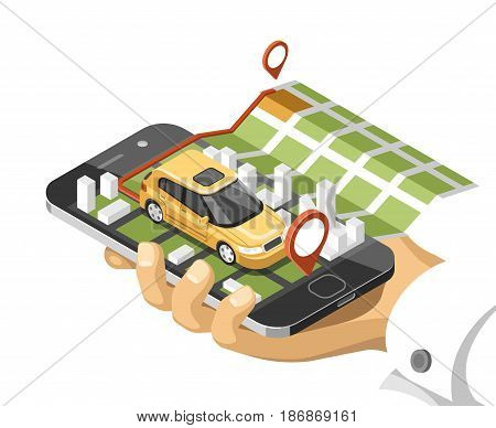 City isometric map with car and buildings on smart phone. Map on mobile navigate application. 3d vector illustration.
