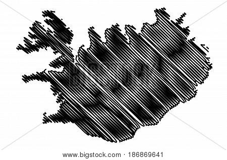 Iceland map vector illustration , scribble sketch Iceland