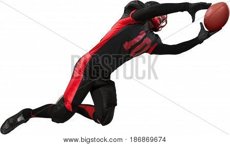 Football american football catching player ball carrier man male
