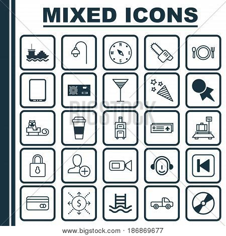 Set Of 25 Universal Editable Icons. Can Be Used For Web, Mobile And App Design. Includes Elements Such As Plastic Card, Locate, Safeguard And More.