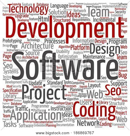 Concept or conceptual software development project coding technology square word cloud isolated background. Collage of application web design, seo ideas, implementation, testing upgrade text