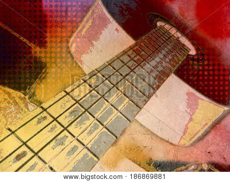 Music background with abstract guitar in funky modern grunge poster style