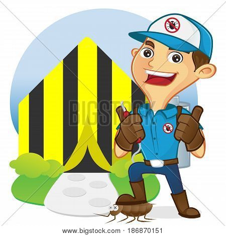 Exterminator In Front Of Tenting Home