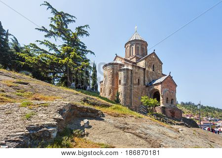 Metekhi Church of the Dormition of the virgin. Famous landmark in Tbilisi Georgia.