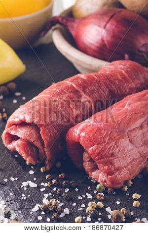 Vintage Photo Of Two Beef Rolls On Slate Stone