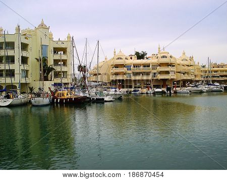 Puerto Marina is а real mini-city with houses on artificial islands. Apartments in such houses cost very much. It is possible to reach these houses either by the boat or sometimes by bridge. On the photo houses of Puerto Marina and boats at moorings are r