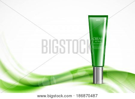 Skin moisturizer cosmetic ads template with green realistic plastic bottle on wavy soft light dynamic elegant lines background. Vector illustration