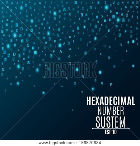 Hexadecimal number system. Abstract modern background. Glowing numbers and letters are blue. Sparse symbols. Hi-tech and programming. Vector illustration. EPS 10