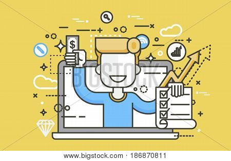 Stock vector illustration man laptop notebook offers fill in application form design element email marketing, newsletter money win earning, income, discount, online line art style yellow background icon