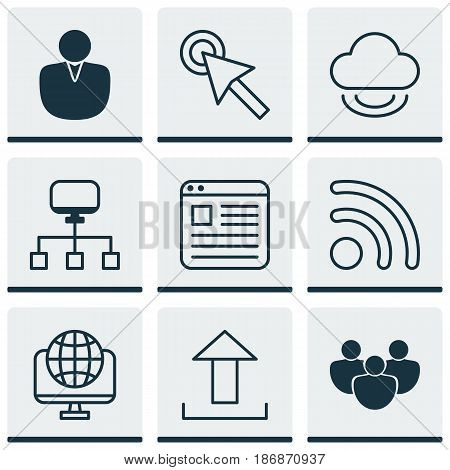 Set Of 9 Internet Icons. Includes Cursor Tap, Website Page, Send Data And Other Symbols. Beautiful Design Elements.