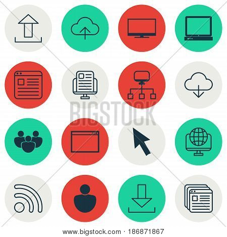 Set Of 16 World Wide Web Icons. Includes Team, Mouse, Wifi And Other Symbols. Beautiful Design Elements.