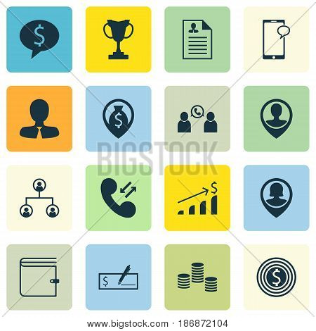 Set Of 16 Management Icons. Includes Wallet, Successful Investment, Bank Payment And Other Symbols. Beautiful Design Elements.
