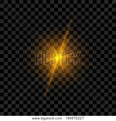 Light Flash with Rays and Glowing. Realistic vector Flare Effect
