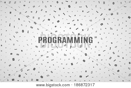 Abstract background from different programming symbols. Hi-tech and programming in design. Text of a dark color. Vector illustration. EPS 10