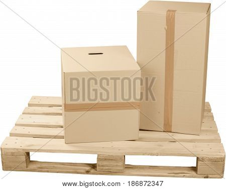 Pallet shipping boxes package isolated skid wooden